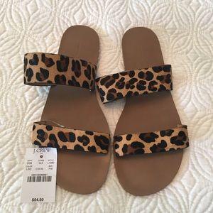 NWT J Crew Leopard Sandals sz 7